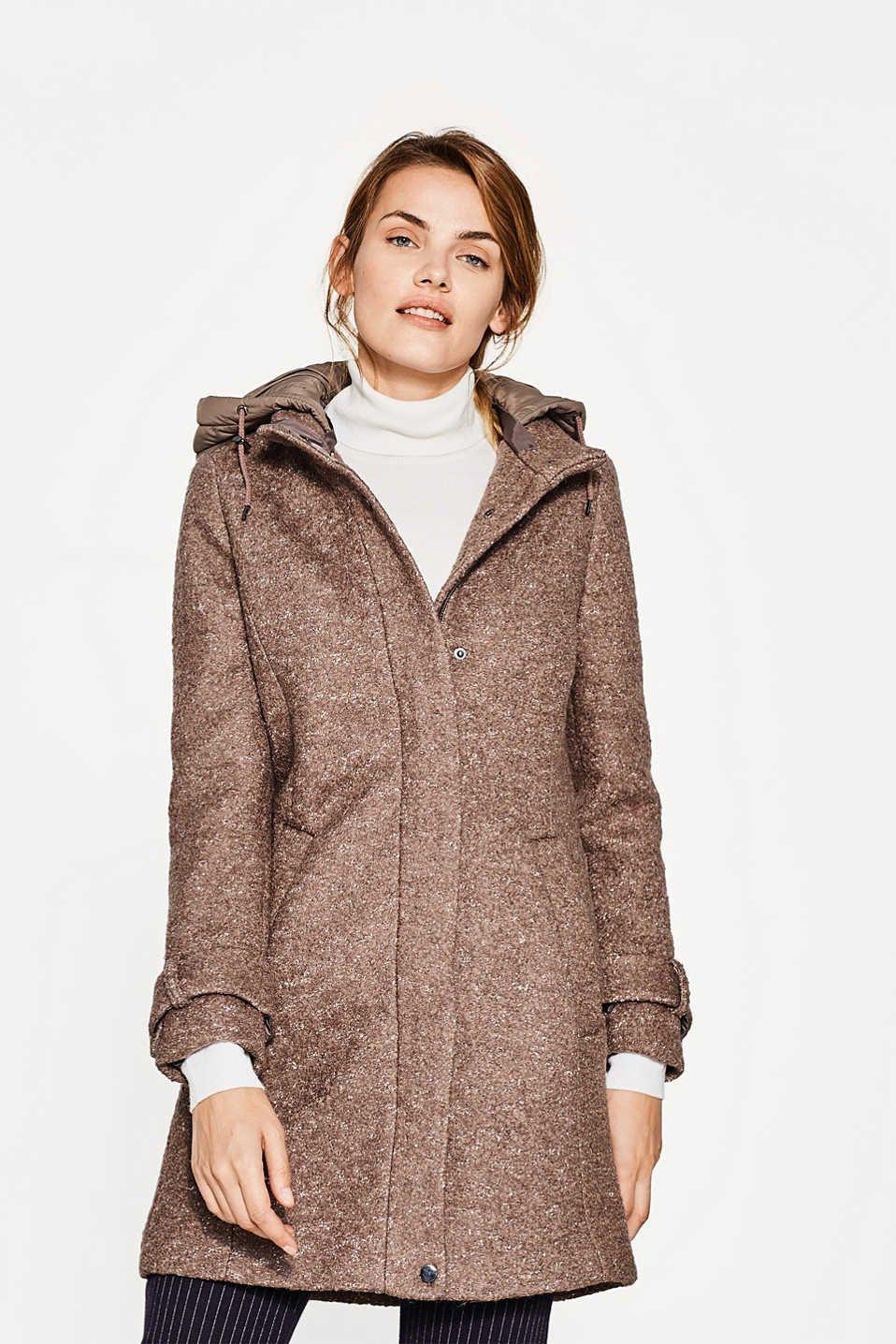 Esprit Boucle Mantel Mit Abnehmbarer Kapuze Boucle Mantel Damenmode Mode