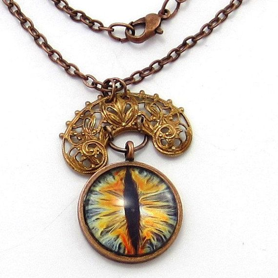 Gothic Cats Eye Pendant Necklace Ornate Vintage by GlobalBrights
