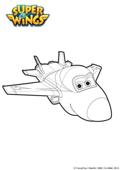 coloriage jerome en mode avion  coloriage super wings