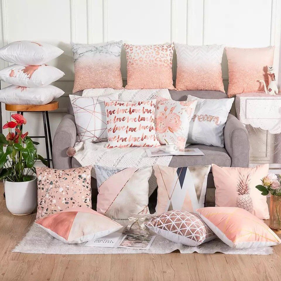 Rose Gold Cushion Covers Pink Grey Geometric Marble Sofa Pillow Case Home Decor