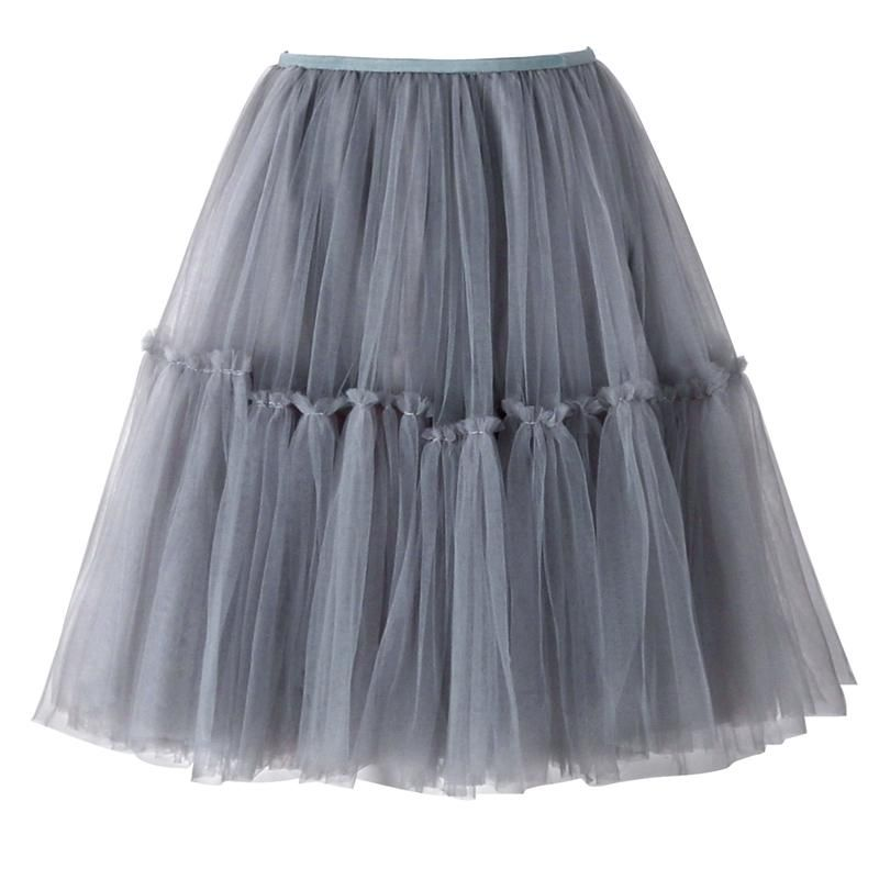 f56a2f3e77 Women Tulle Midi Skirts Gray Mesh Puffy Pleated High Waist Layers Short  Flare Tutu Ball Gown