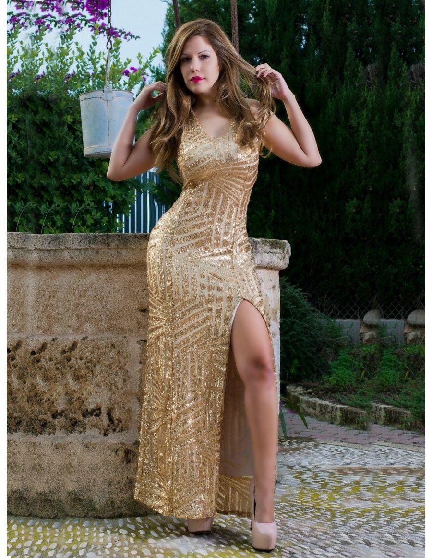 81b850291eb0 Vestido de Fiesta Largo Dorado VL223 | Dorados y amarillos ...