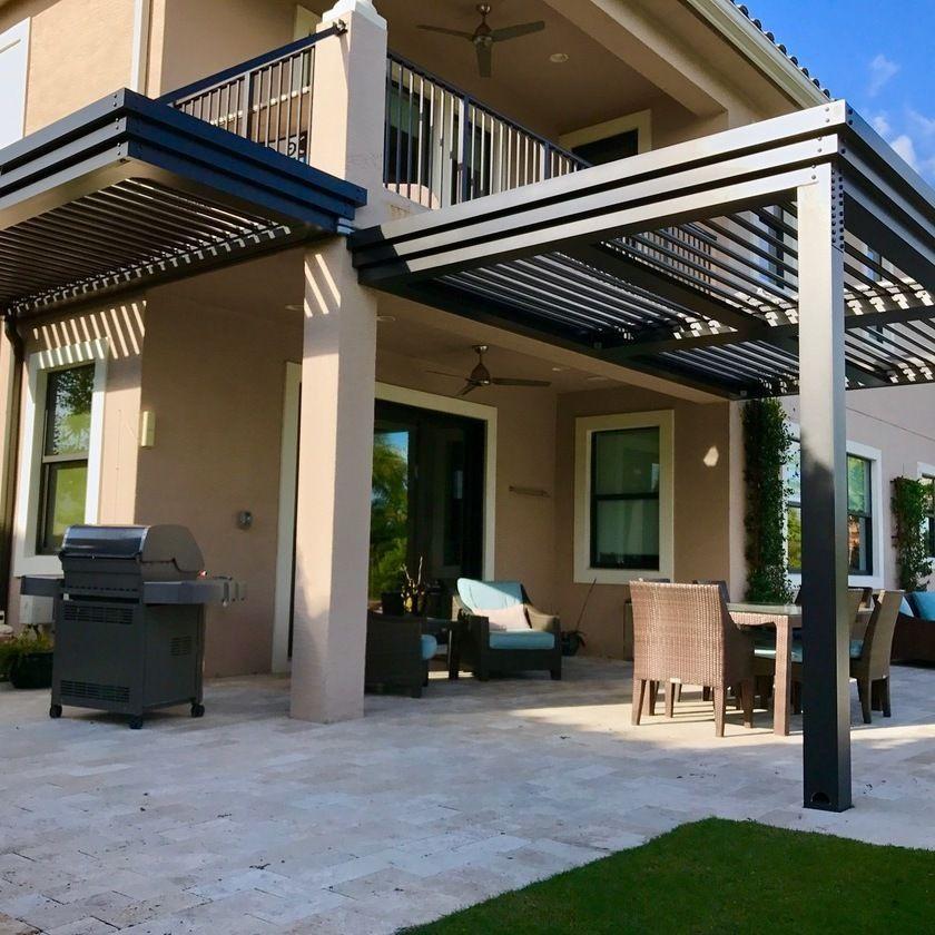 The StruXure Outdoor automatic louvered pergola roof. Sun