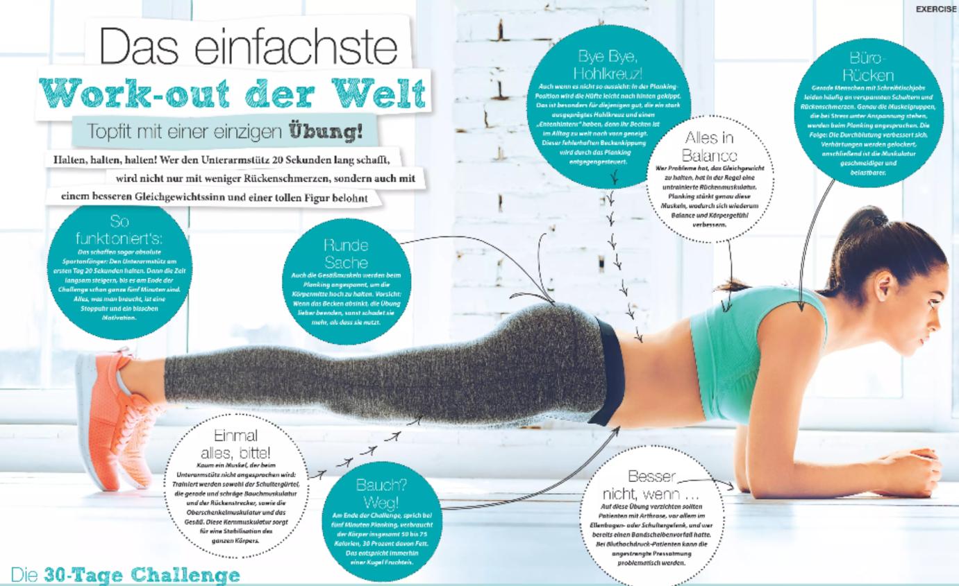 Das einfachste Work-out der Welt! Topfit mit einer Übung!   JETZT bei Readly lesen:   Good Health NR.06 2016 - Seite 73