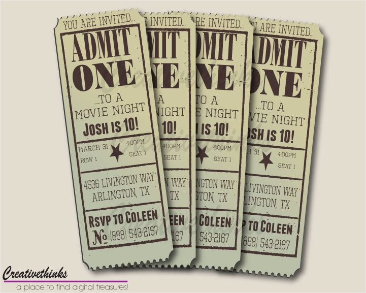 Printable Vintage Movie Ticket Invitation - Digital File $700 - movie ticket template for word