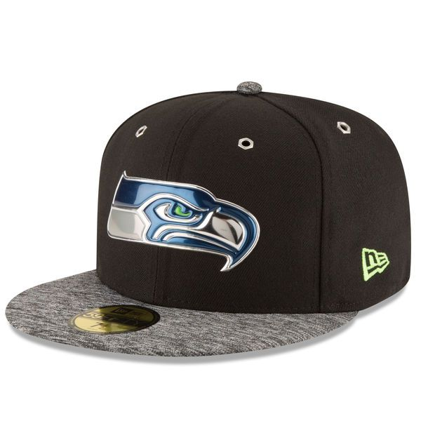 Men s Seattle Seahawks New Era Black Shadow Tech 59FIFTY Fitted Hat ... fd34fca8fc49