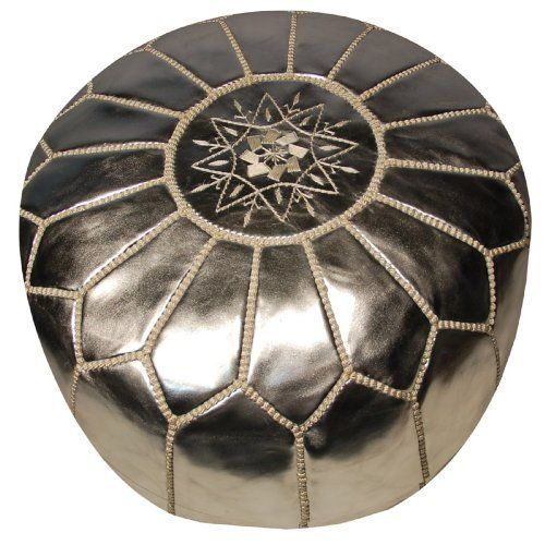 "Moroccan Pouf - Silver Leather by Moroccan Prestige. $279.00. Usually ships in 2-3 business days20""Dia x 14""HAuthentic in design and of the highest quality, the genuine leather Moroccan poufs from this designer will add a Bohemian-chic element to your nursery, child's bedroom or living area. These Moroccan poufs are carefully hand-made by artisans in Morocco (Imagine - it takes seven different artisans to make each pouf!) who have mastered the techniques over gene..."
