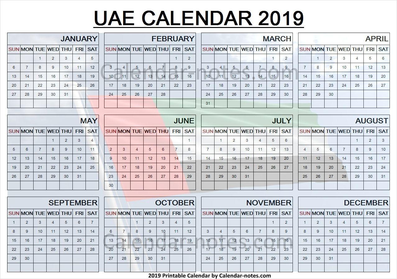Calendar 2019 Uae With Holidays Calendar Calendar Notes