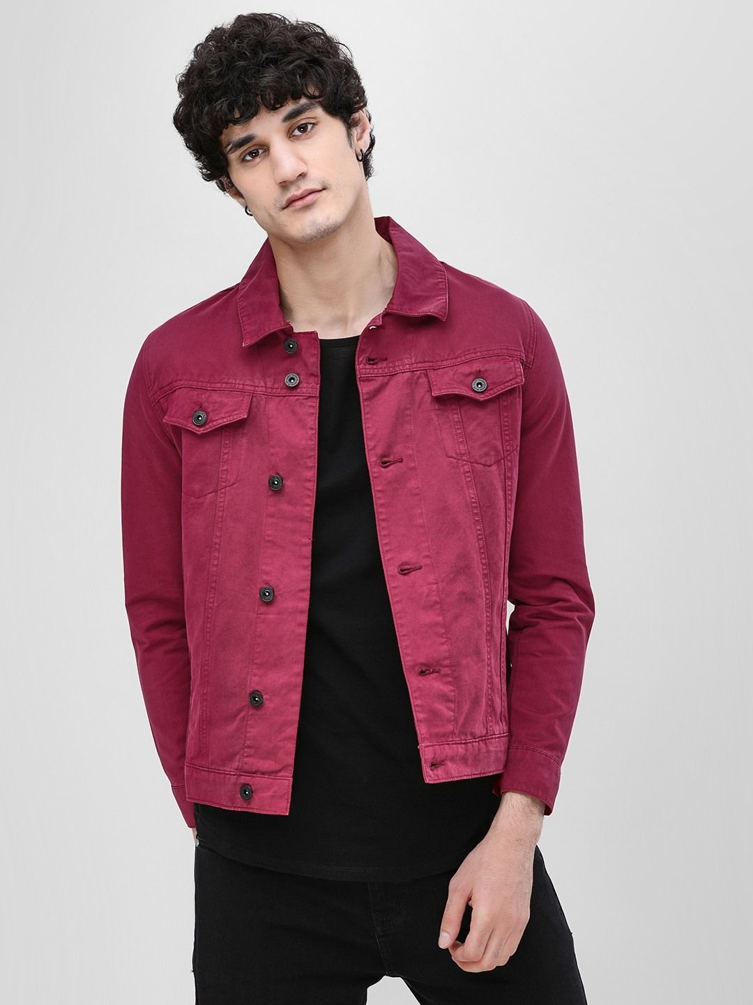8415db58e14e Buy Overdyed Denim Jacket For Men - Men's Red Jackets Online in India