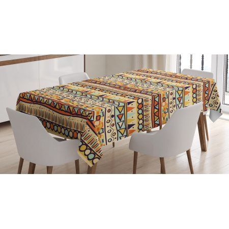 Primitive Decor Tablecloth, Mexican Style Ethnic Doodles Triangles Circles  Folkloric Geometric Tribal, Rectangular Table