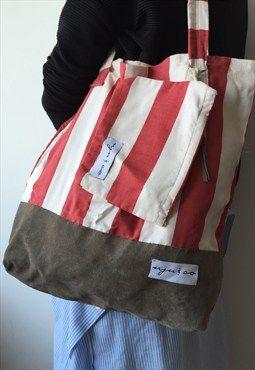 Rojo Blanco bolsas de lona de cuero náutico con la bolsa