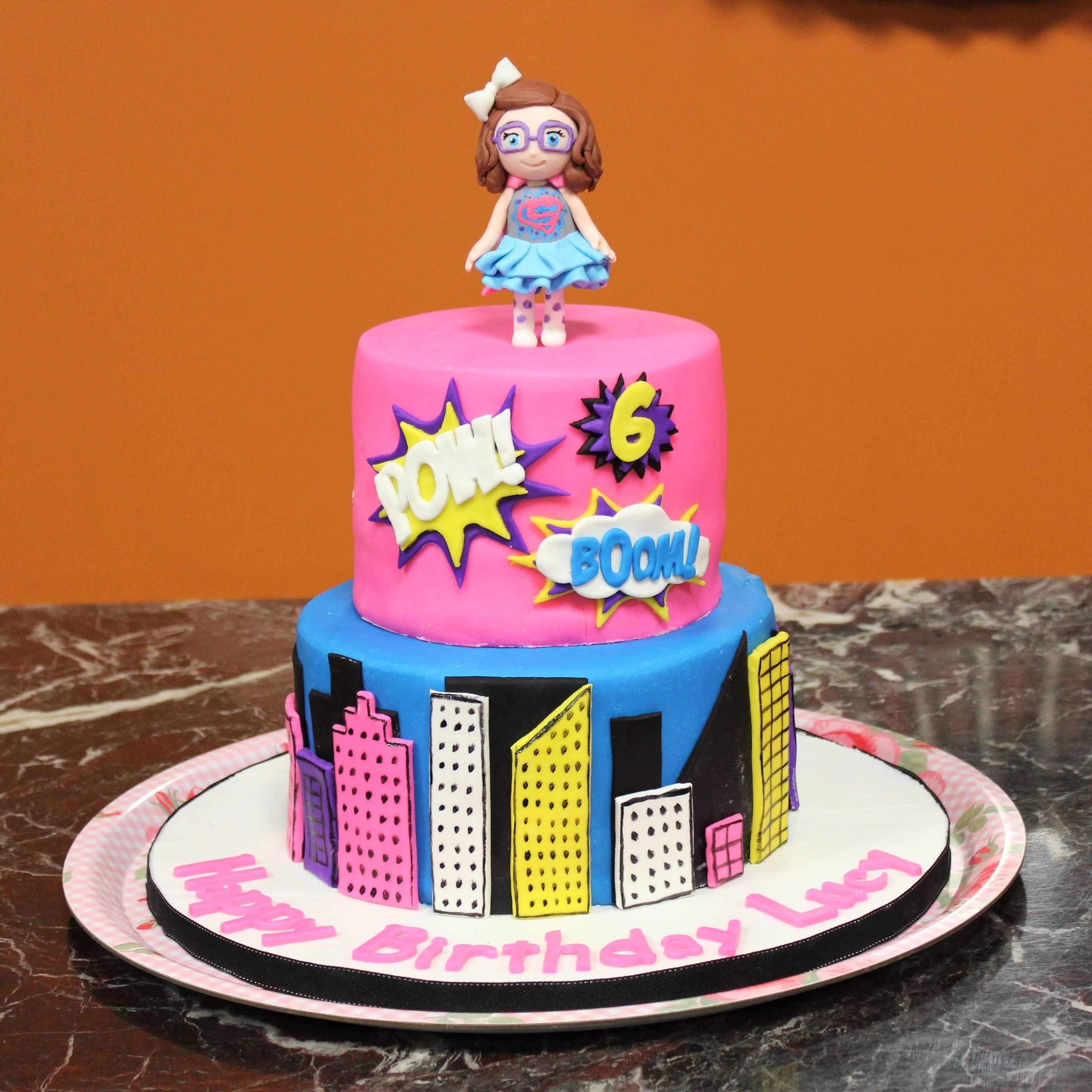 Awesome Girl Super Hero Cake With Images Girl Superhero Cake Girl Funny Birthday Cards Online Aeocydamsfinfo