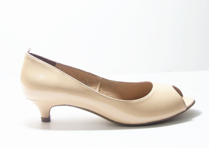 Karla Nude Patent Leather Peep Toe Court Shoes. Genuine Leather ...