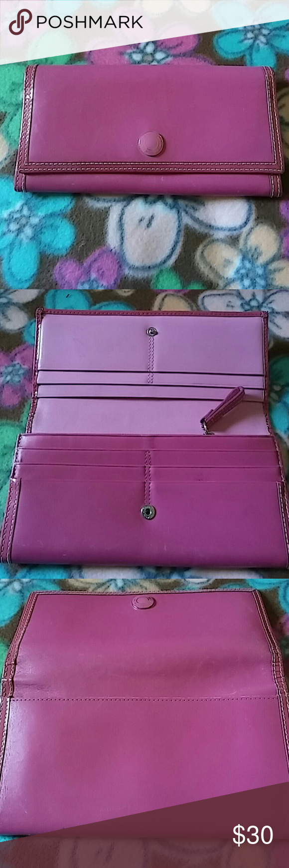 Pretty in Pink Coach Wallet 12 card holders, coin section and 4 bill sections..Has been used, some minor wear. Still in good shape, pretty pink interior..no stain, or holes... Coach Bags Wallets