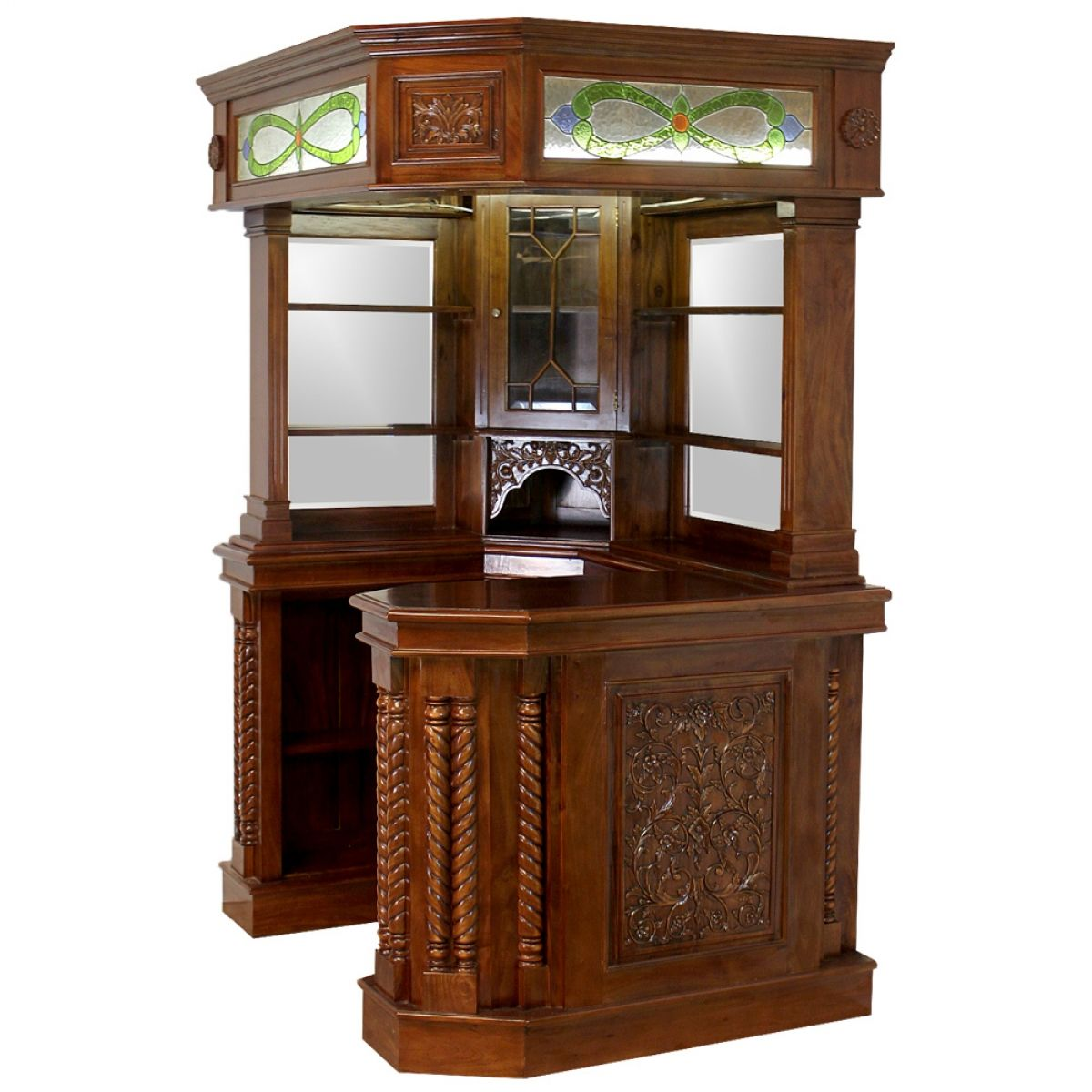 Corner Home Bar Furniture Solid Mahogany With Tiffany