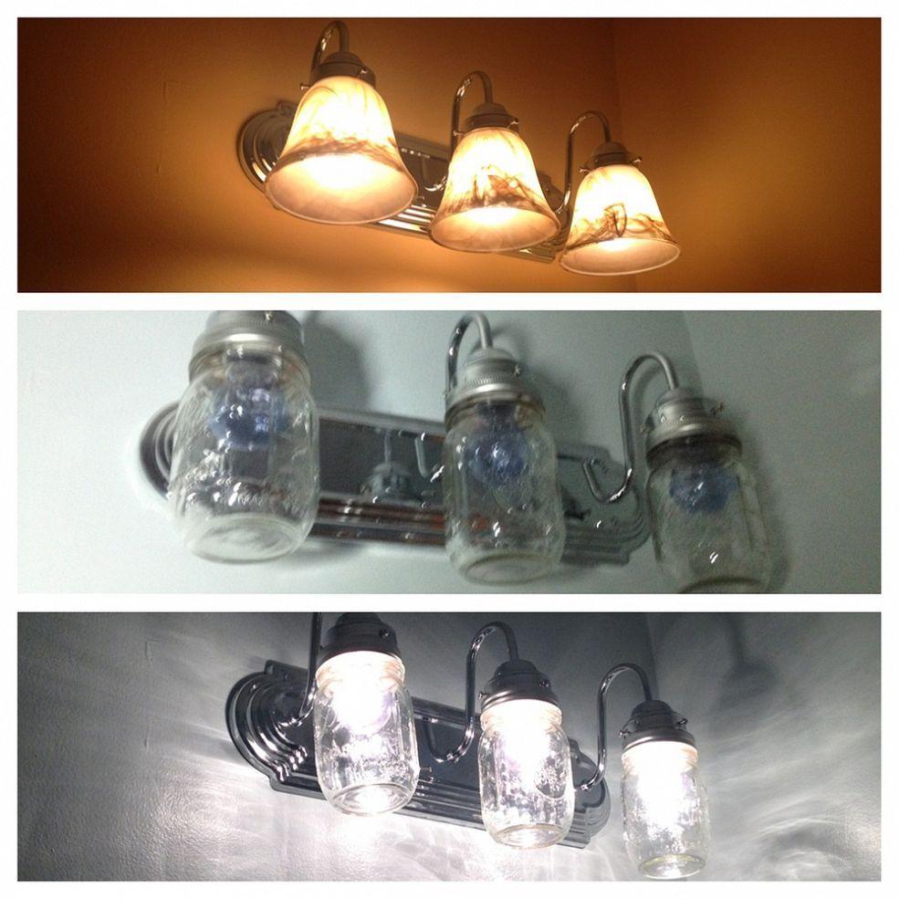 Bathroom makeover reveal diy mason jar lights mason jar