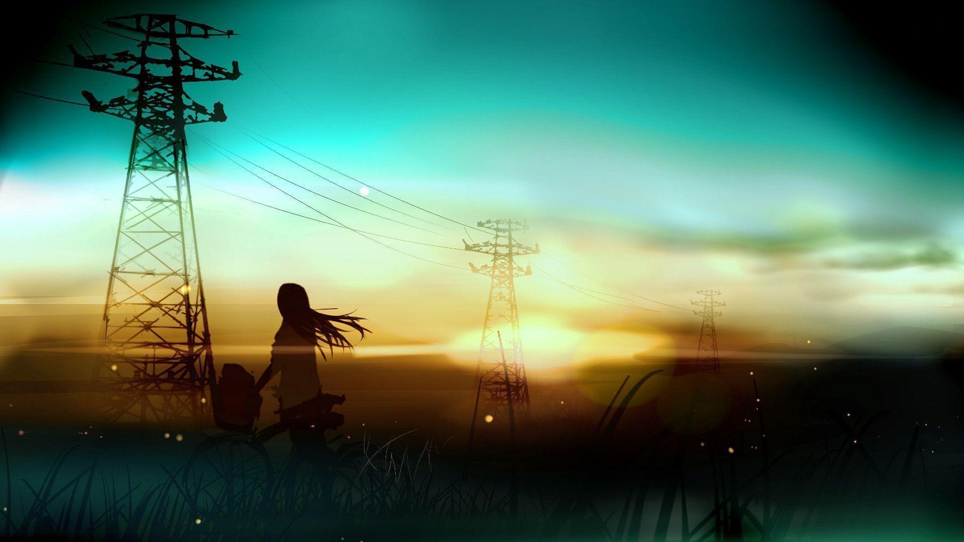 power lines, sunset, artwork, anime, anime girls,