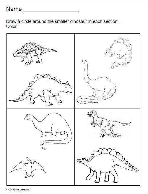 1 - 2 - 3 Learn Curriculum: Dinosaur Worksheets :) Dinosaur Worksheets,  Dinosaur Activities Preschool, Dinosaurs Preschool