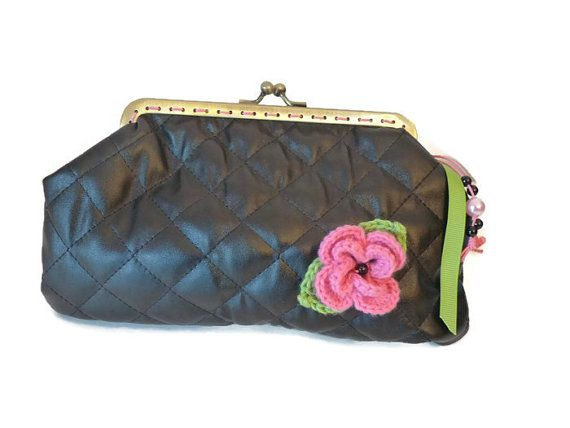 Coin Purse In Black Quilted Fabric Metal By Driworks