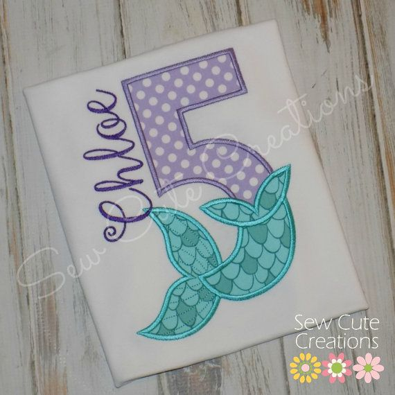 Personalized Mermaid Birthday Shirt Tail Girl Short Long Sleeve Custom Embroidered Sew Cute Creations