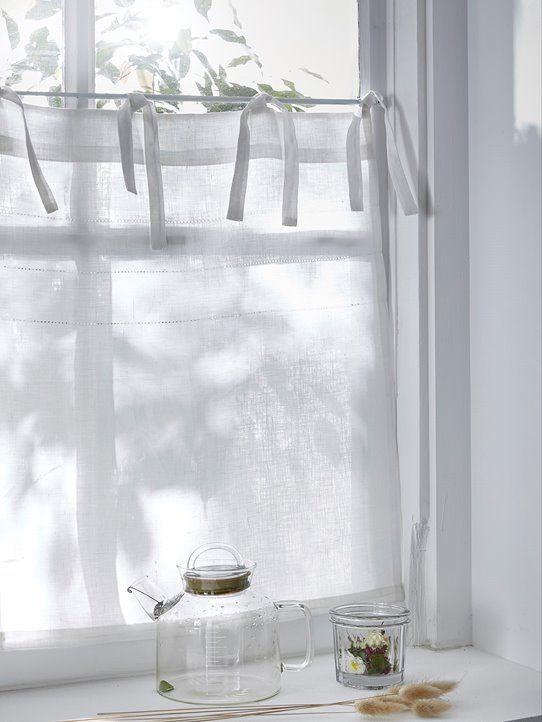 Scheibengardine Leinen Weiss 3 Scheibengardine Gardinen Vorhang Fenster
