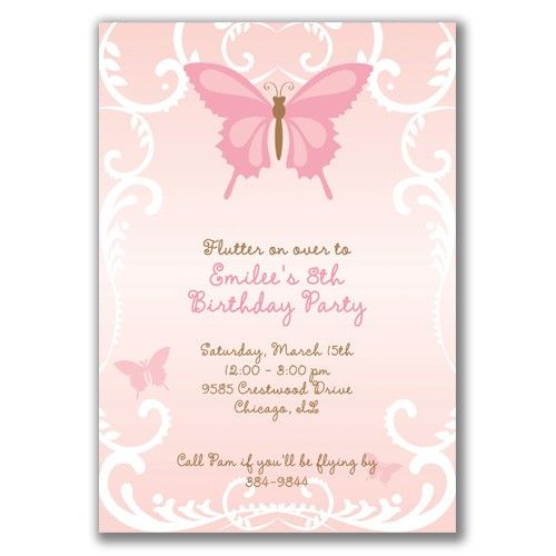 Beautiful Butterfly Invitations for Girls Birthday Party by milelj – Baby Girl Birthday Party Invitations