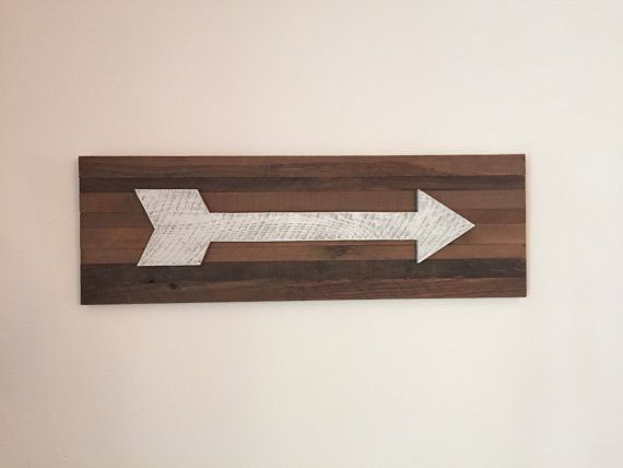 Large White Distressed Arrow on Reclaimed Wood by CleverGoose
