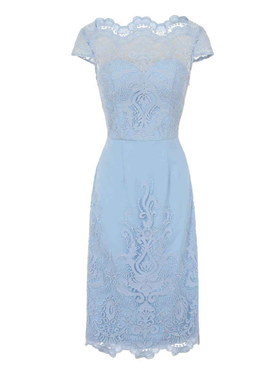 Jurken Huren. Chi Chi London. Thistle light blue. Midi dress. Lace ...