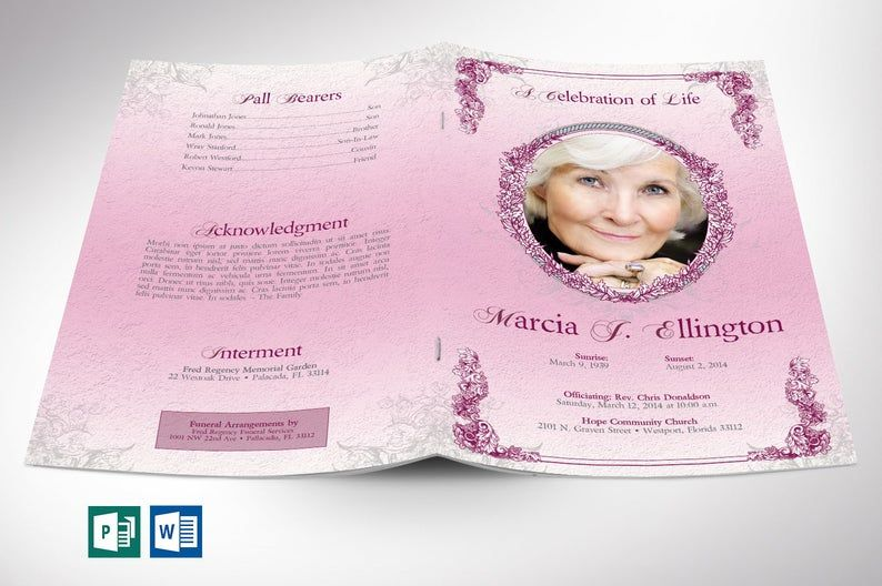 Pink victorian funeral program word publisher template 4