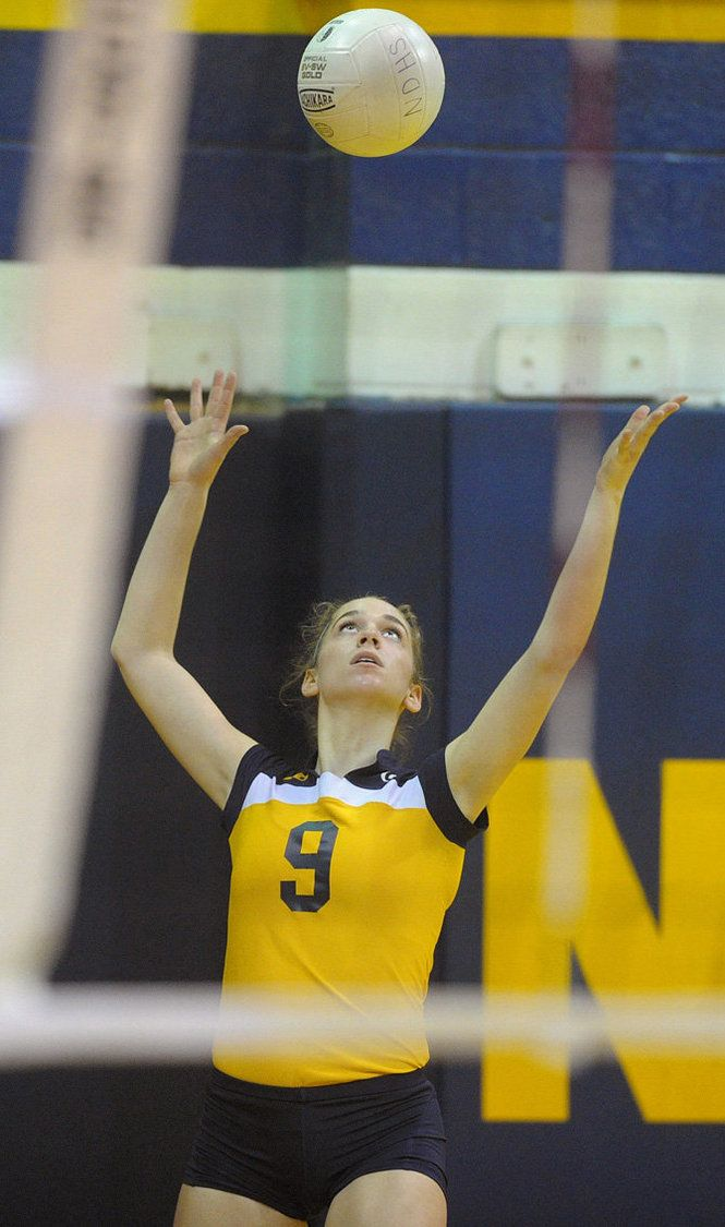 Notre Dame S Mary Paige Nesfeder Prepares To Serve The Ball During A Game Against Bethlehem Catholic At Notre Dame High School Notre Dame Sports Athlete