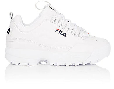 Fila's white smooth leather Disruptor 2 sneakers feature a