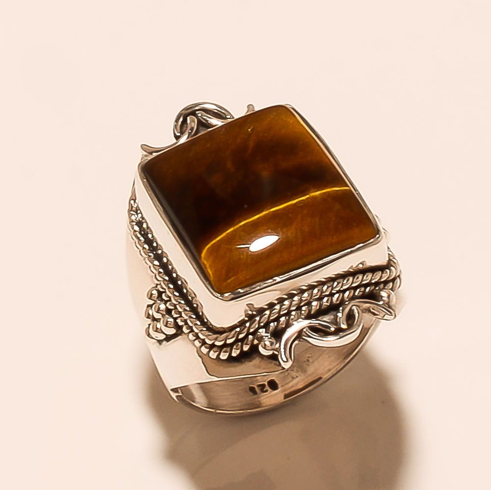 dd9915077 Natural Tiger Eye Gemstone 925 Sterling Silver Fathers Day Ring Jewelry  Gift New #Handmade #Ottoman #WomensDay