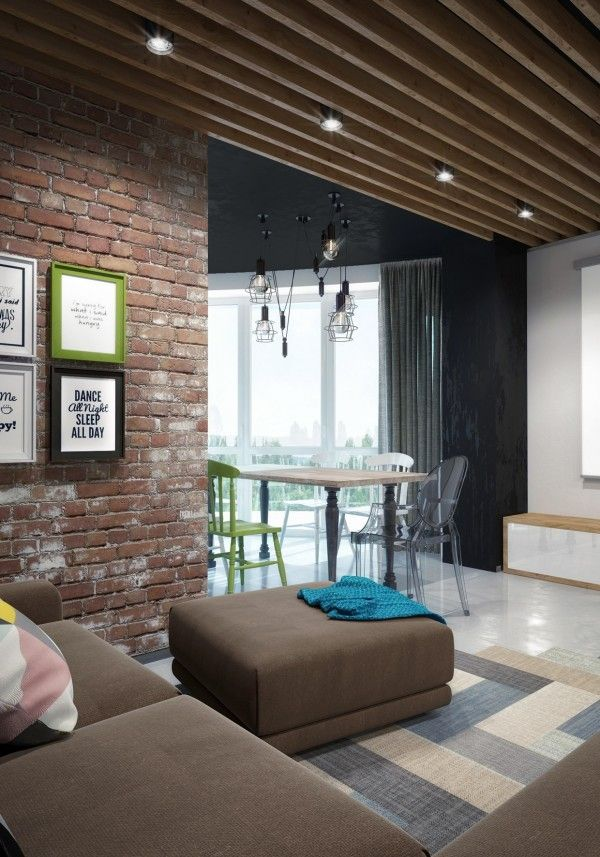 Interior sunny loft design wooden roof design ceiling brown square sofa bricks wall artistic white ceramic drawing photo transformation to an open loft