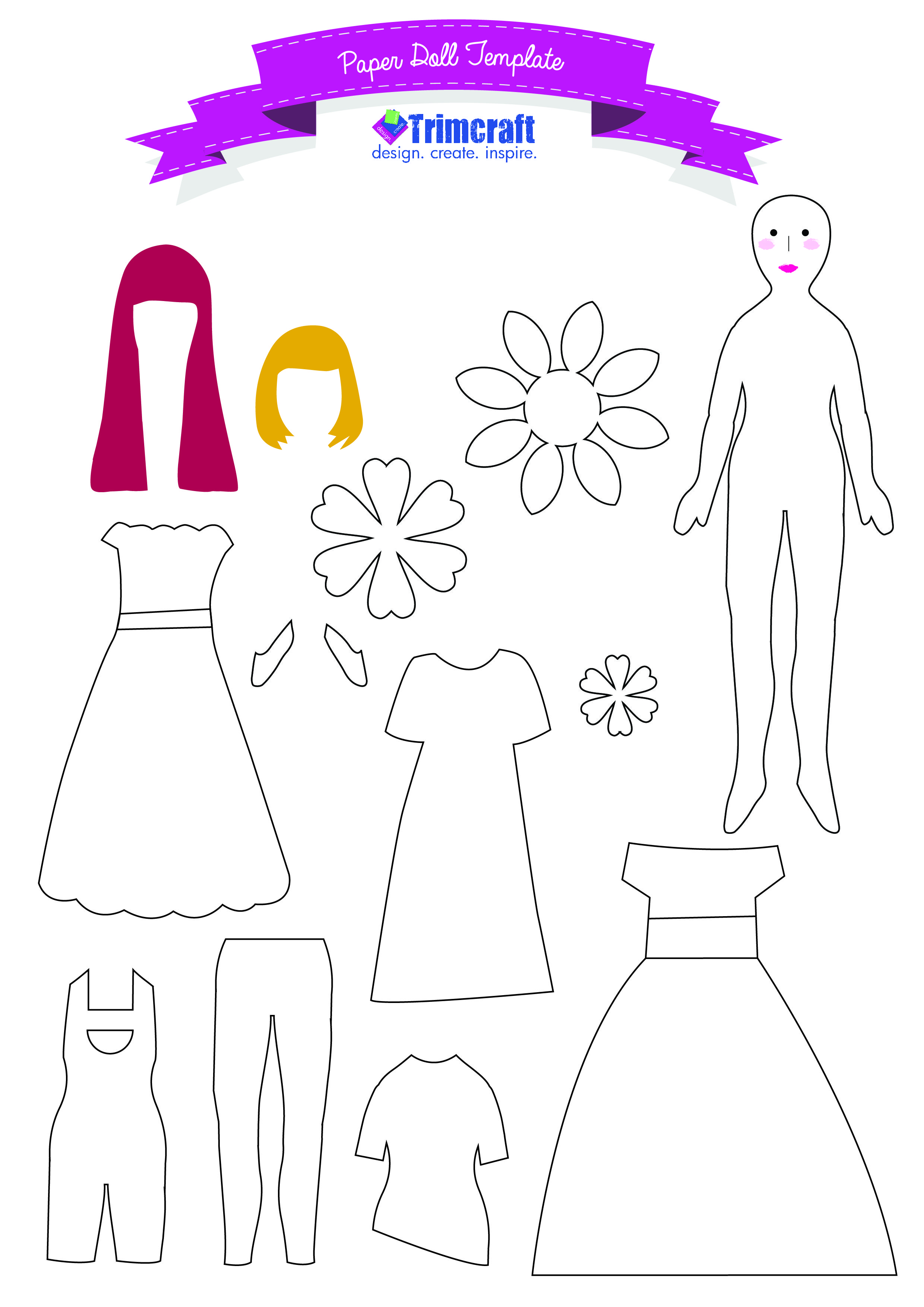 Kids Craft Paper Doll Tutorial with Free Printable Template ...