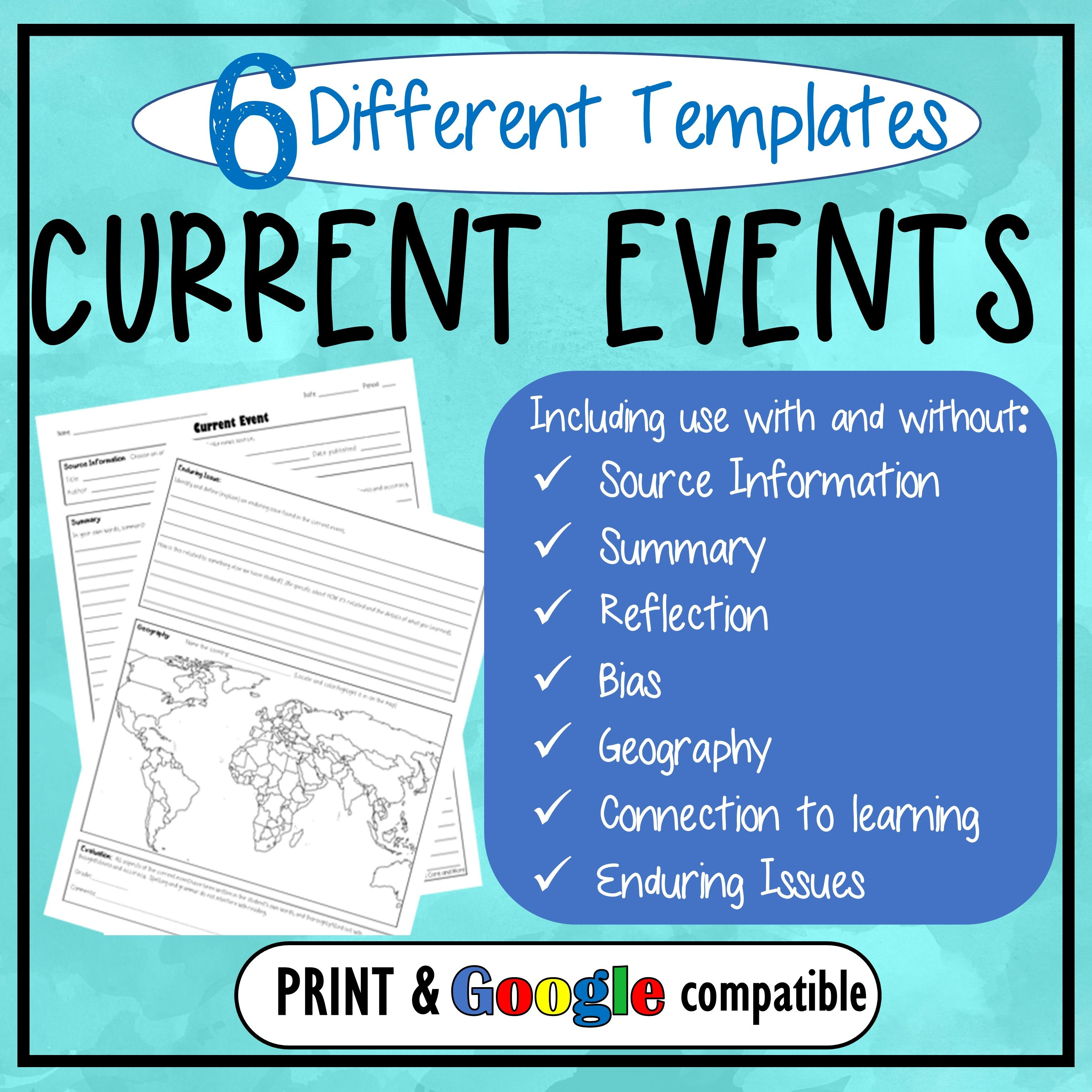 Current Event Templates Amp Assignment For Middle Amp High