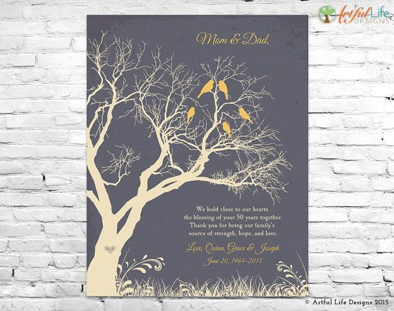 50th anniversary gift art print 50th golden anniversary sign anniversary gift for parents family tree wall art