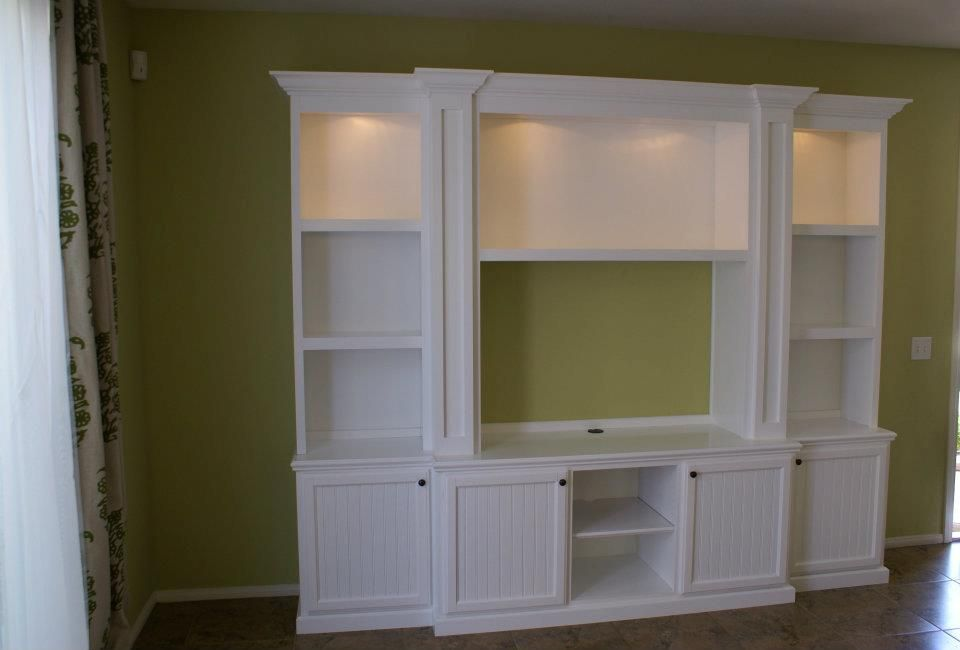 White Country Style Entertainment Centers | And Bright White Cabinetry  Featuring Bead Board Doors And Shaker