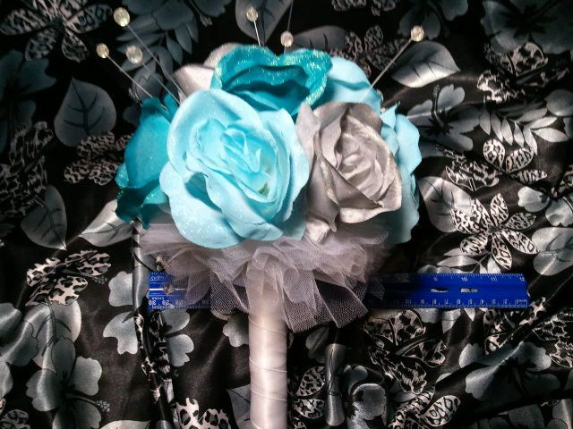 Glittery Turquoise and Silver Rose Bouquet