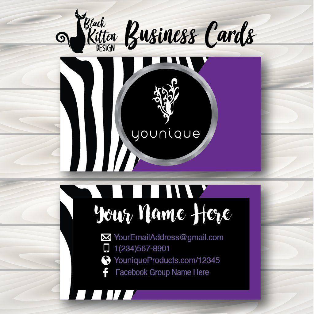 Printed Younique Zebra Half Purple Business Cards Glitter Business Cards Business Cards Makeup Business Cards