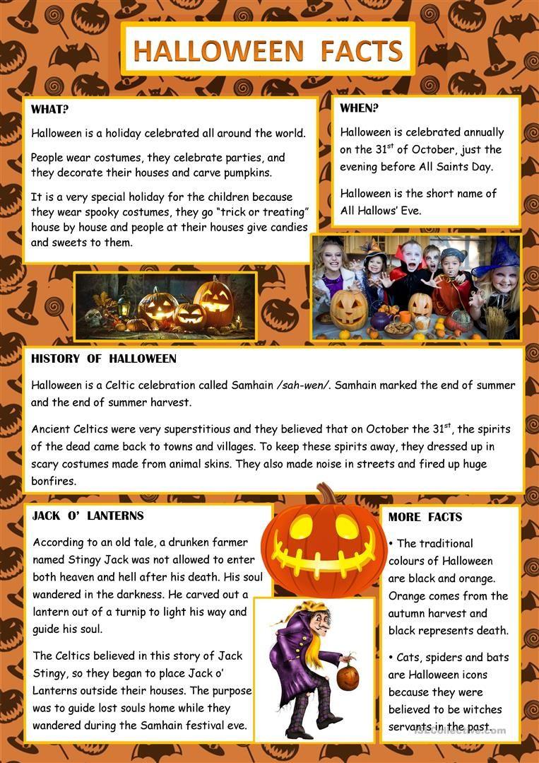 Halloween Facts English Esl Worksheets Halloween Worksheets Halloween Facts Halloween Writing [ 1079 x 763 Pixel ]