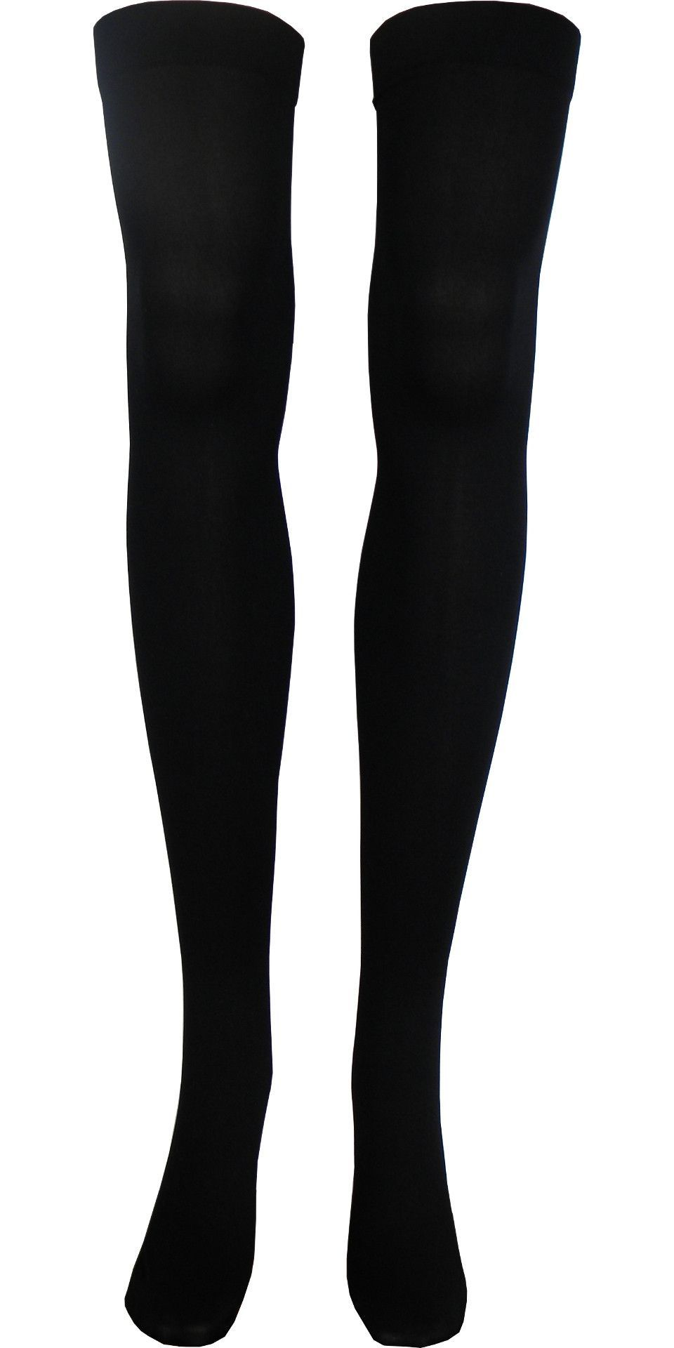 c5efa5aeb77 Solid Opaque Thigh High Socks in Black - Black   regular