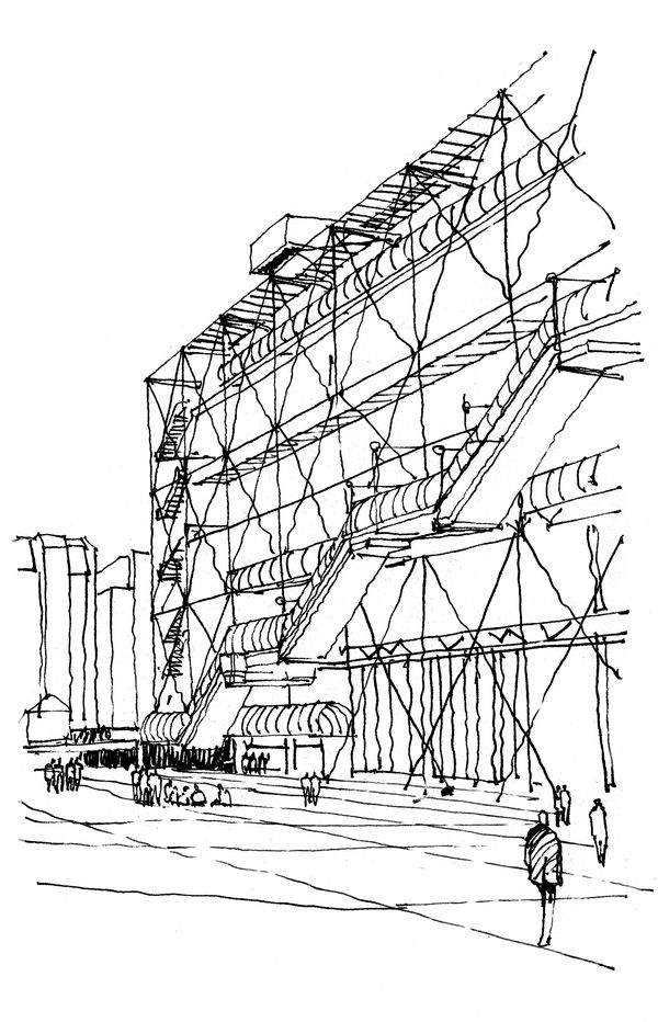 centre pompidou sketch | presentations | drawings ...
