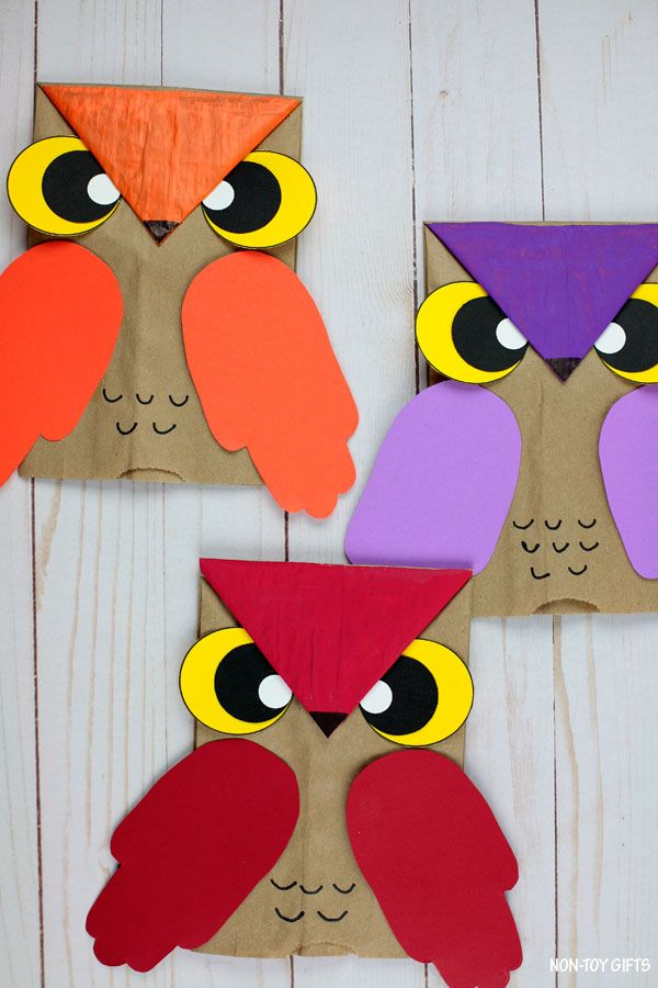 Paper Bag Owl Craft For Kids - Fall Craft with Owl Template #fallcraftsforkidspreschool