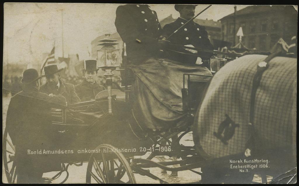 Christiania Kristiania Oslo Oslo,  AMUNDSENS HJEMKOMST til Kristiania 20-11-1906 utg Norsk Kunstforlag  stpl. Fr.stad 1906