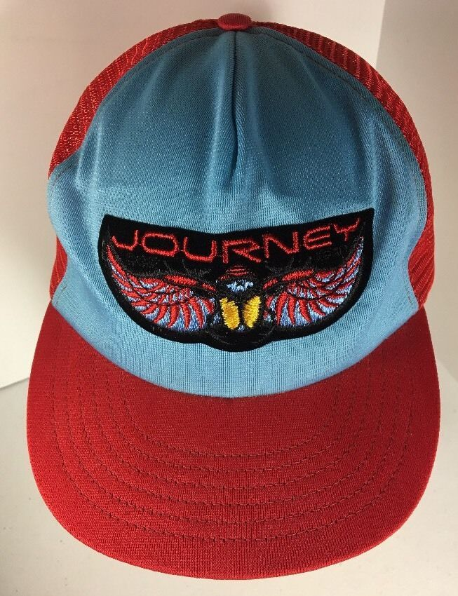 5241c43ebd6 Vintage Journey SnapBack Cap Hat Trucker Red Blue Rock Band Mesh Adjustable  USA