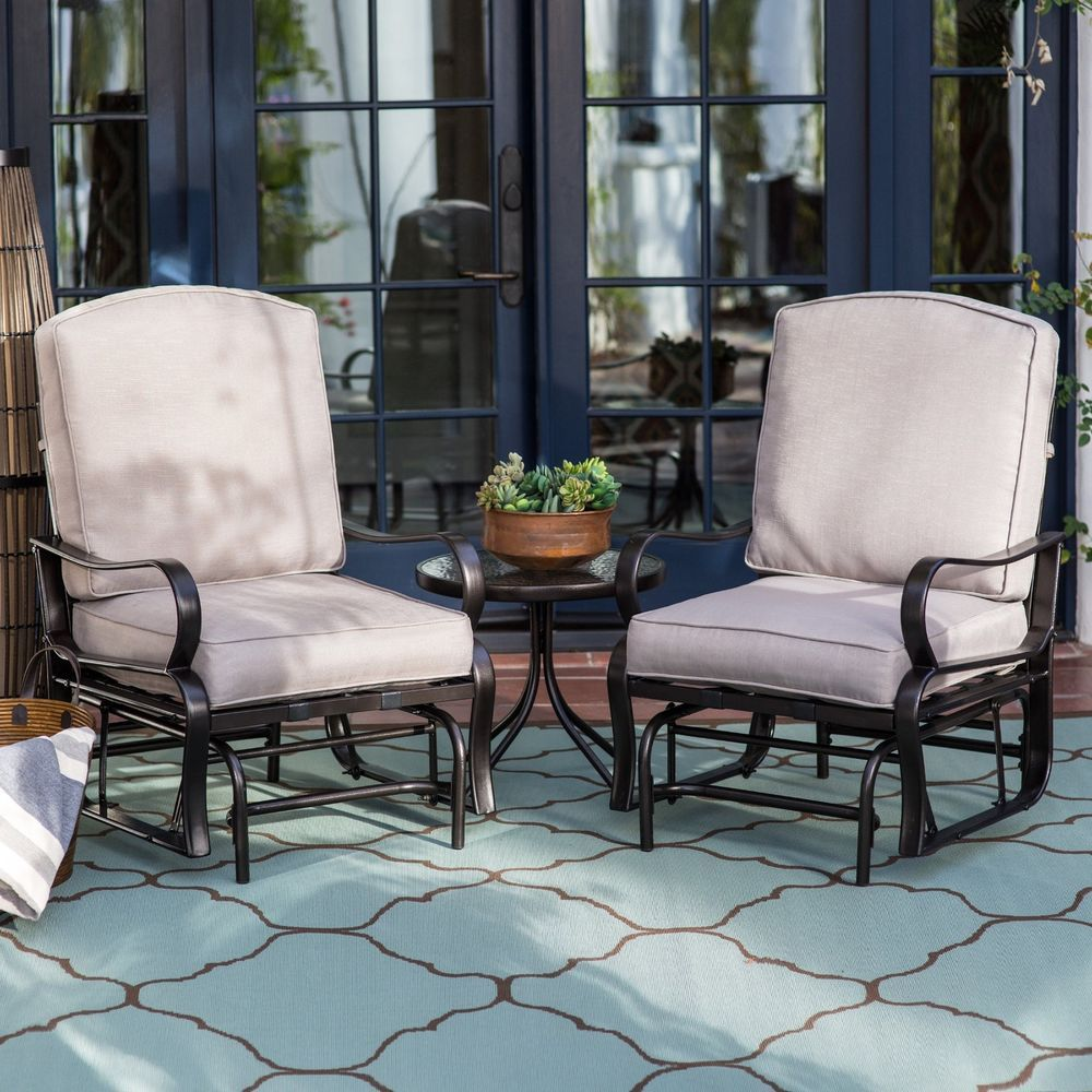 patio furniture glider set with cushions outdoor conversation