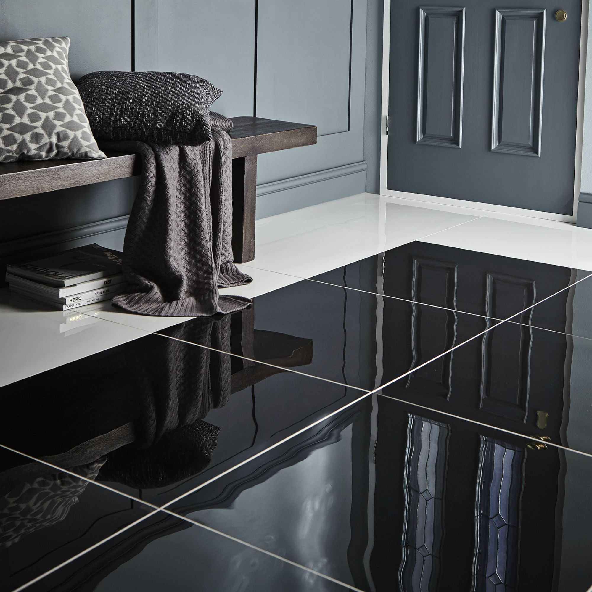 Black Kitchen Tiles B Q: Livourne Black Polished Floor Tile, Pack Of 3, (L)600mm (W