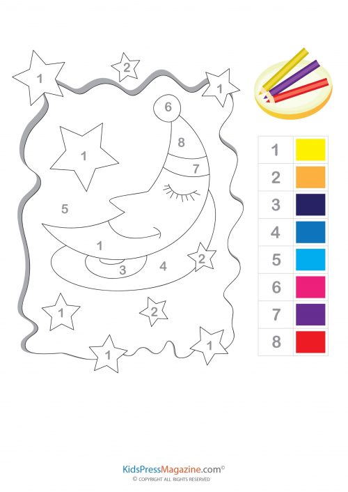 Stars And Moon Color By Number Printable Sayilara Gore Renk
