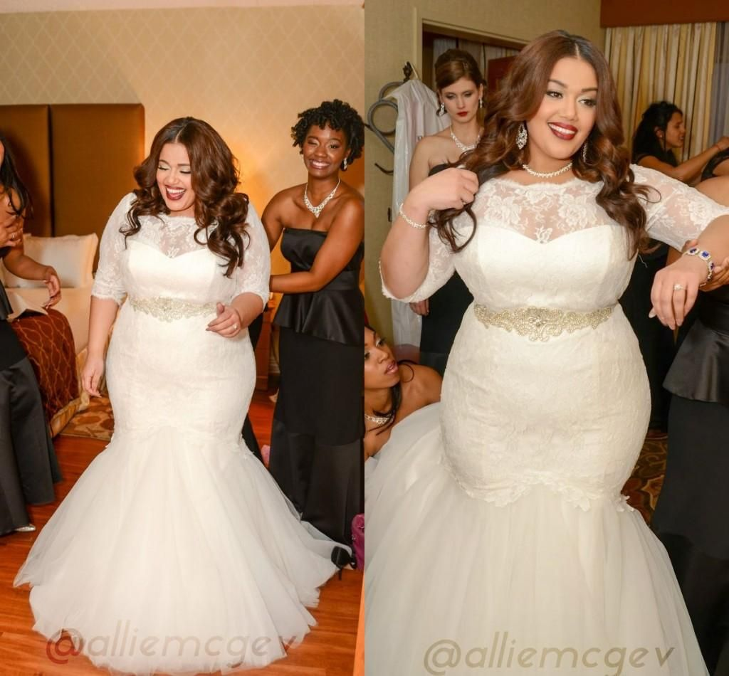 place wedding dresses plus size sheer crew neck sleeves