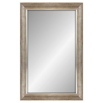 Rectangle Decorative Wall Mirror White Finish with Silver Trim ...